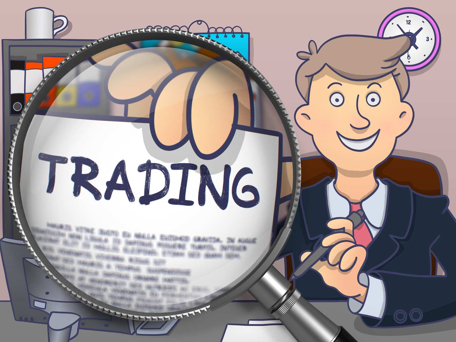 Trading. Text on Paper in Man's Hand through Magnifying Glass. Multicolor Doodle Illustration.